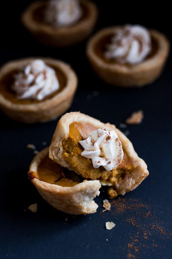 Mini Pumpkin Pies are cute little portions of the beloved Thanksgiving pumpkin pie.