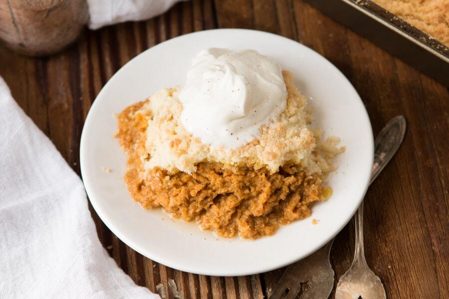 Mom's Pumpkin Pie Dump Cake ohsweetbasil.com