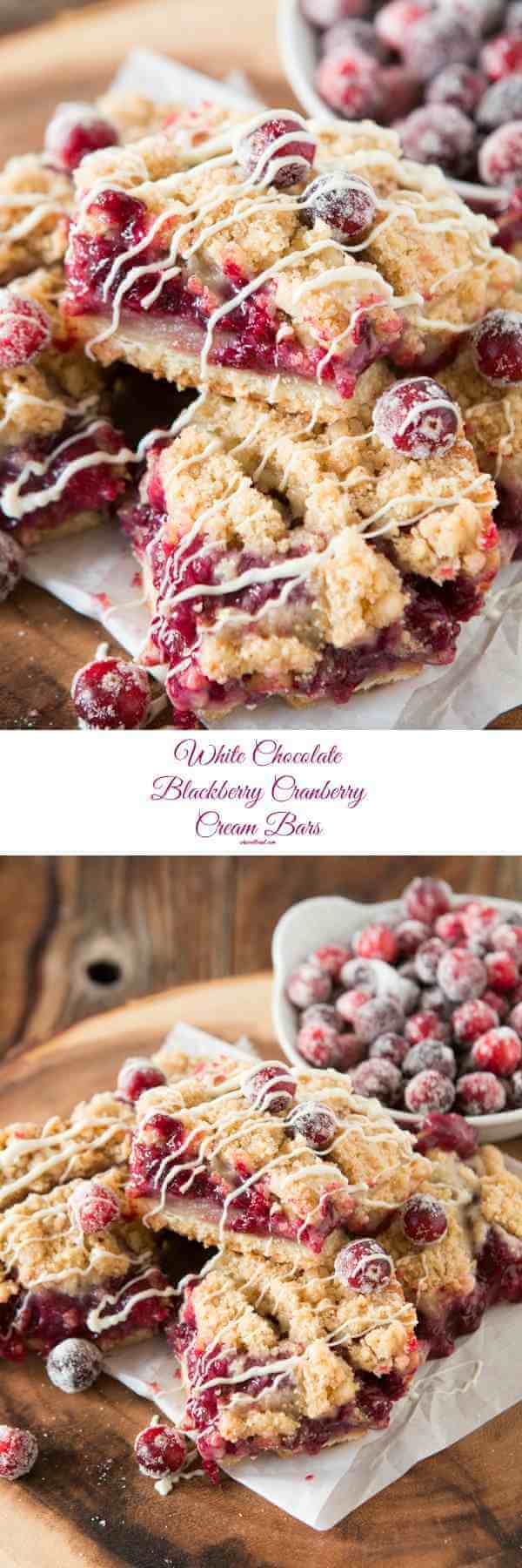 We love to make these for friends and family! White chocolate blackberry cranberry sweet cream bars ohsweetbasil.com