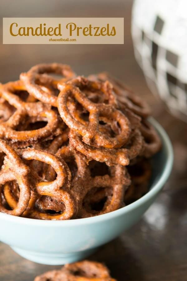 I love recipes that are perfect for munching. I mean dinner is awesome, but a bowl of these candied pretzels to get you through the holidays aint bad either ohsweetbasil.com