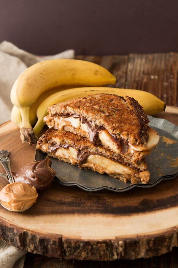 Grilled peanut butter nutella and banana sandwich