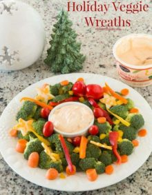 The holidays are full of sweets and treats, but we are making the healthy stuff much more fun with holiday party veggie wreaths and dip!