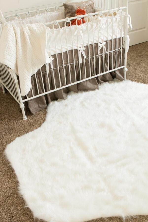 faux fur rug ohsweetbasil.com Baby Boy Nursery Ideas ohsweetbasil.com