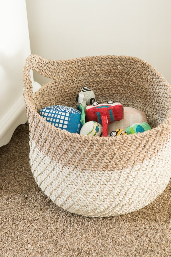 Baby boy nursery storage baskets ohsweetbasil.com Baby Boy Nursery Ideas ohsweetbasil.com
