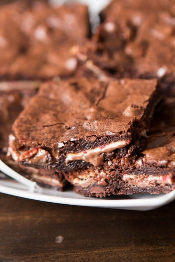 I found this awesome Ghirardelli peppermint bark in full size candy bars versus those little individually wrapped candies and I just had to make a super quick and easy Peppermint Bark Brownies recipe. 2 Ingredients, that's all you need.