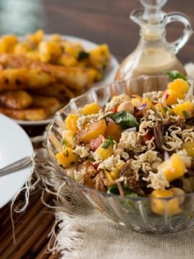 It's everything we love in one big crunchy polynesian pork salad. Hello mango salsa, grilled pineapple and the yummiest poly dressing ever!