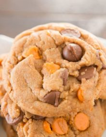 Loving these soft and chewy pumpkin spice double chip cookies! ohsweetbasil.com