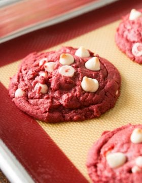 Red Velvet White Chocolate Chip Cookies ohsweetbasil.com
