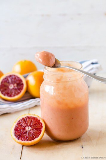 A creamy and rich blood orange curd from A Cookie Named Desire