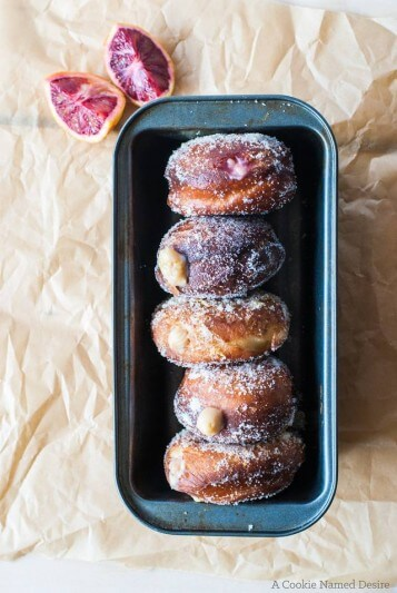 Blood Orange Cream Doughnuts via A Cookie Named Desire