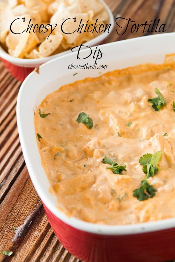 Cheesy Chicken Tortilla Queso Dip is pretty much begged for on every game day ohsweetbasil.com