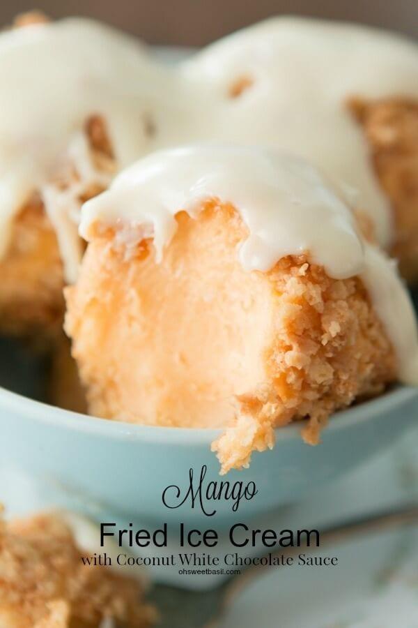 Tropical mango fried ice cream with a macadamia crust and white chocolate coconut sauce ohsweetbasil.com
