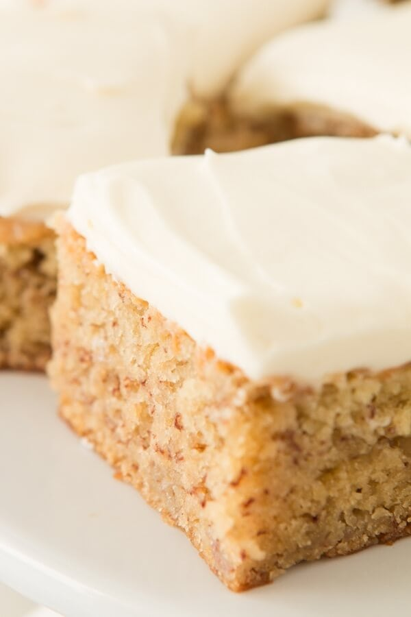 Moist banana cake with cream cheese frosting ohsweetbasil.com