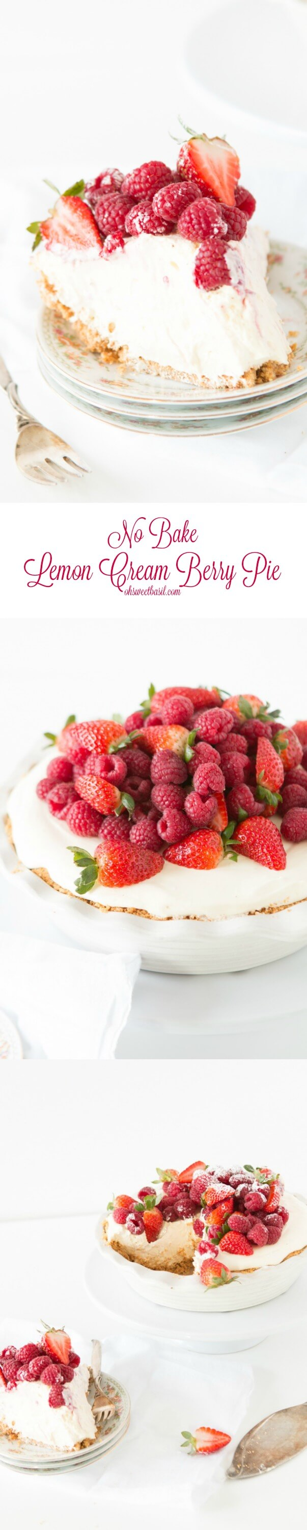 My absolute favorite no bake lemon cream berry pie! It's so easy but looks so fancy! ohsweetbasil.com