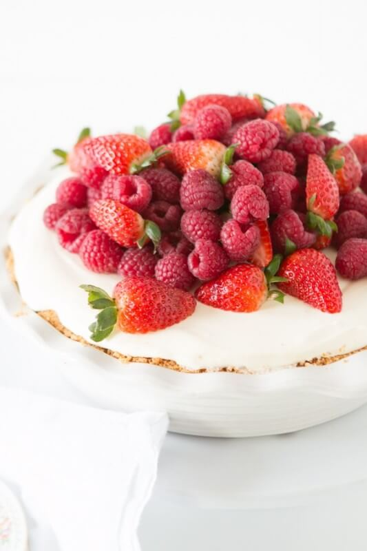 Our obsession, this no bake lemon cream pie with berries. YES!! ohsweetbasil.com