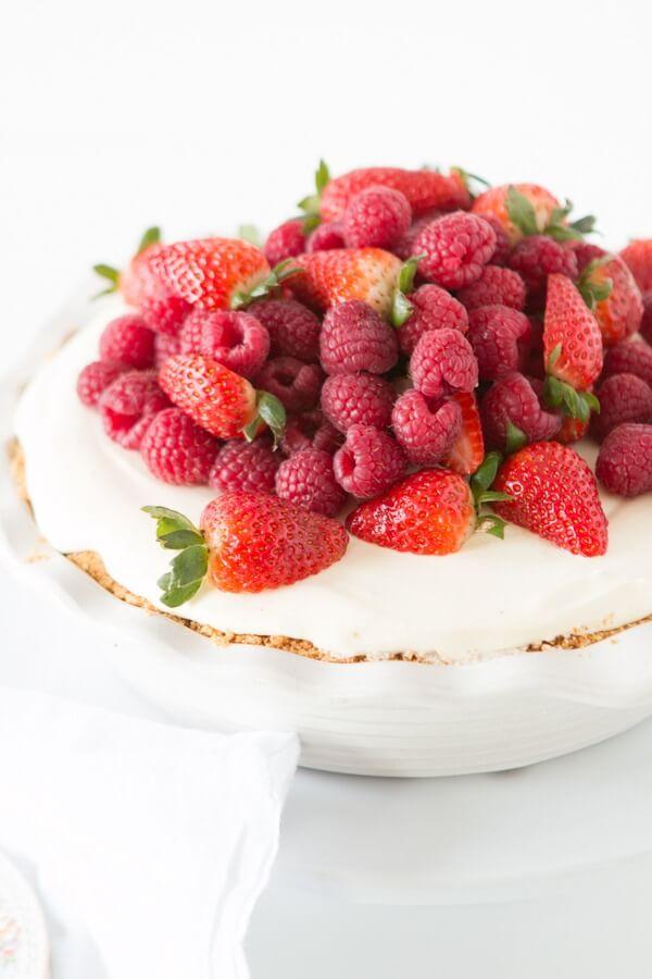 No bake lemon cream berry pie with juicy red berries ohsweetbasil.com summer