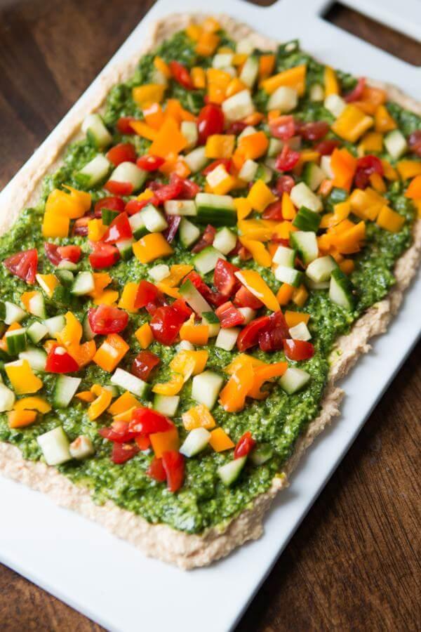8 layer hummus dip ohsweetbasil.com pita chips, Mediterranean, appetizer, snack