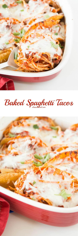 Mashup Recipe!! Baked Spaghetti Tacos! ohsweetbasil.com