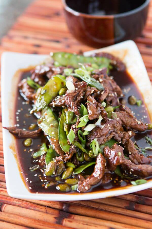 I love meals that are as easy as if you didn't cook at all! This Asian beef with snow peas and edamame is delicious and super quick!