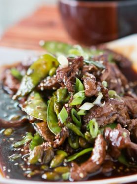Beef and Snow Peas ohsweetbasil.com