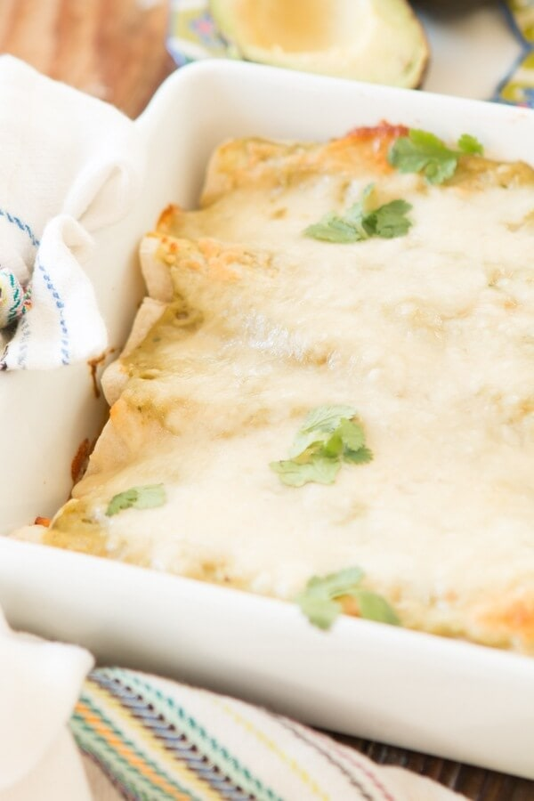 Chorizo chicken enchiladas with avocado enchilada sauce ohsweetbasil.com
