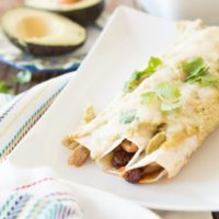 Chorizo chicken enchiladas with avocado enchilada sauce ohsweetbasil.com