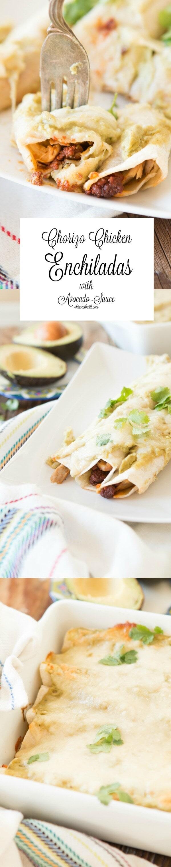 cheesy chicken chorizo enchiladas with a creamy avocado enchilada sauce! ohsweetbasil.com