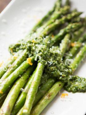 Cilantro Pesto Asparagus ohsweetbasil.com