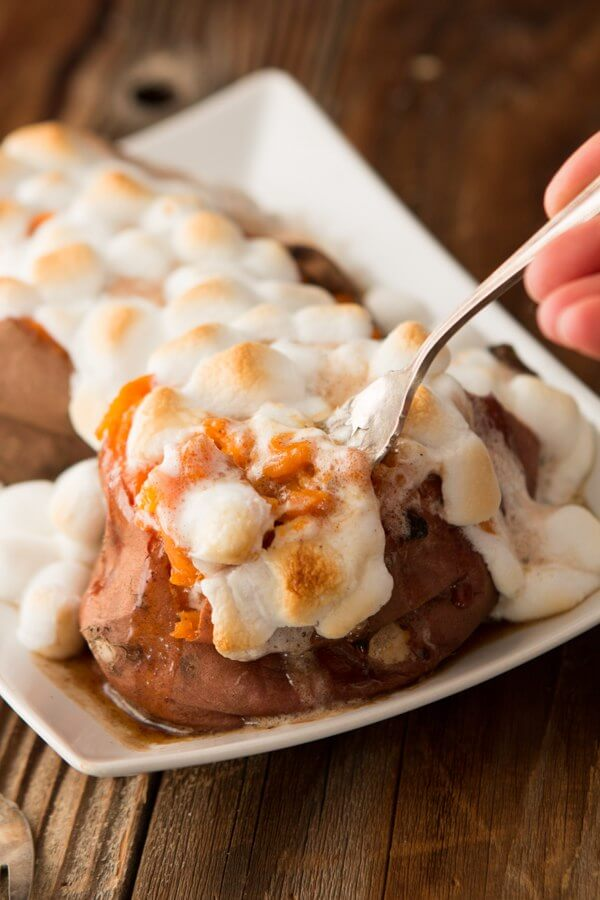 Copycat Texas Roadhouse Loaded Sweet Potato, my husband's absolute favorite side dish! ohsweetbasil.com