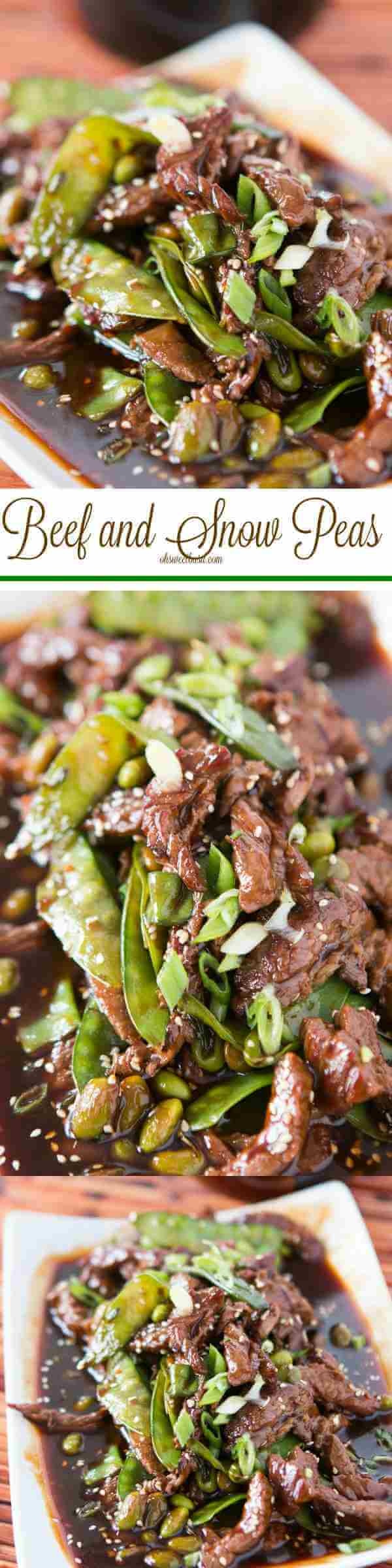 Easy beef and snow peas with edamame and a yummy sauce! ohsweetbasil.com