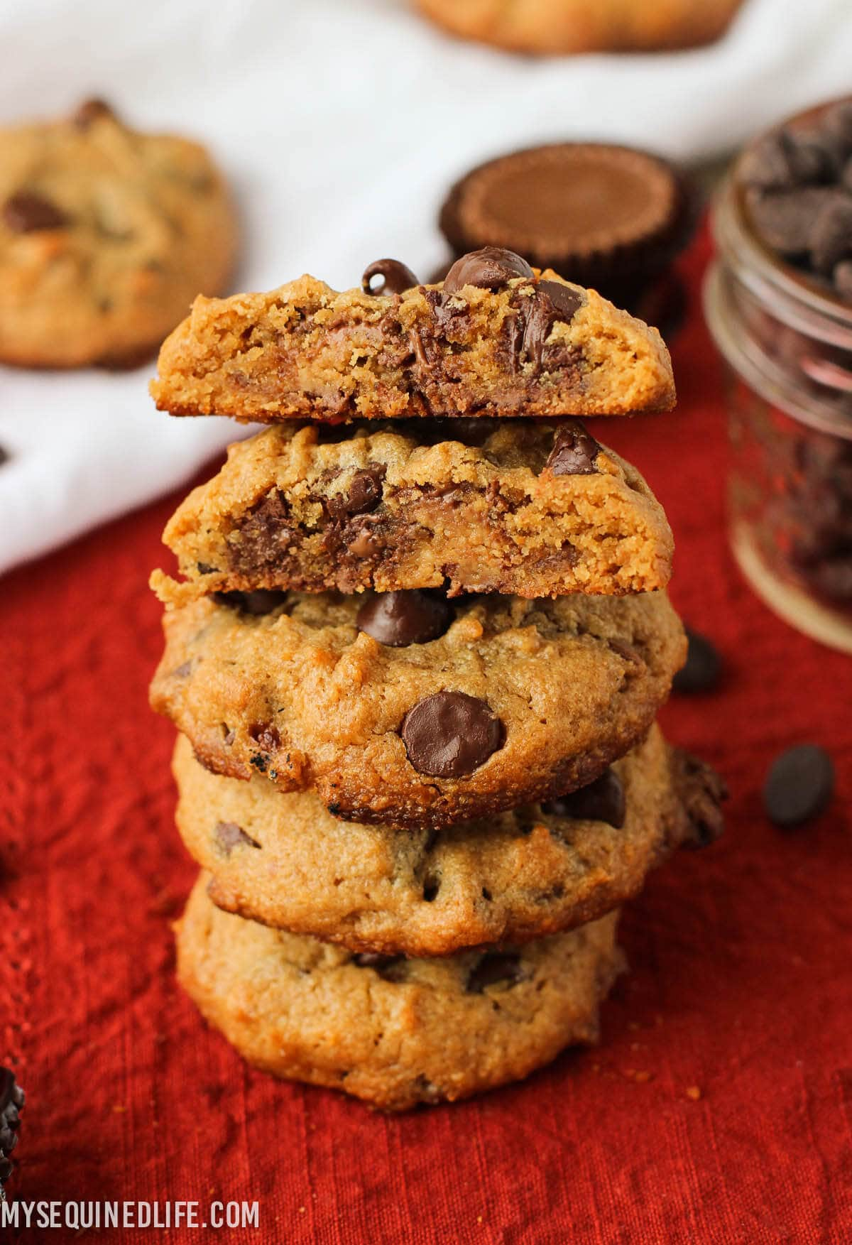 Loaded Chocolate Chip Reese's Peanut Butter Cookies | mysequinedlife.com
