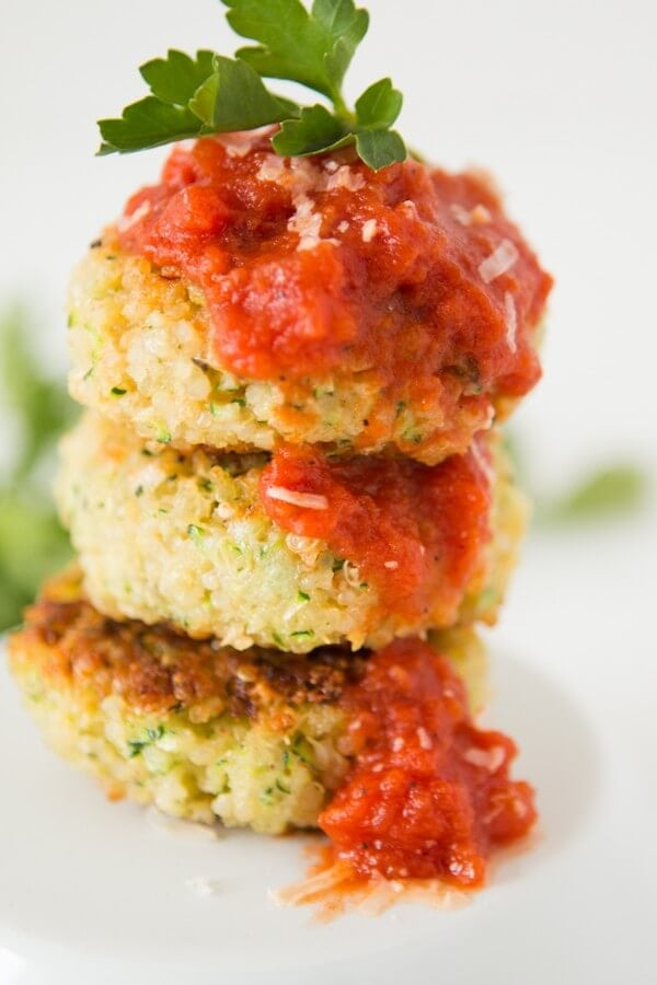 Quinoa zucchini fritters parmesan ohsweetbasil.com