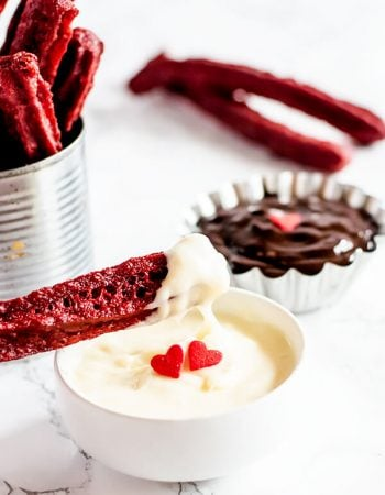 Red velvet churros recipe with cream cheese dip