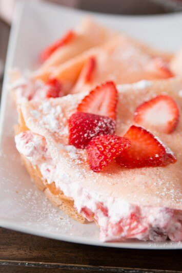 strawberry milkshake crepes ohsweetbasil.com