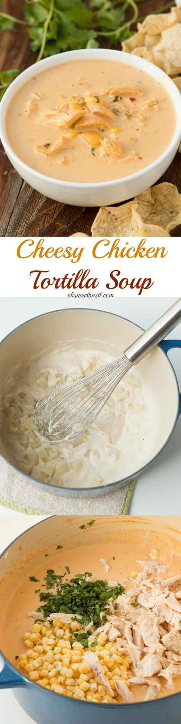 The most begged for recipe ever, cheesy chicken tortilla soup! It's full of salsa con queso, corn, chicken, potatoes and so much more! ohsweetbasil.com
