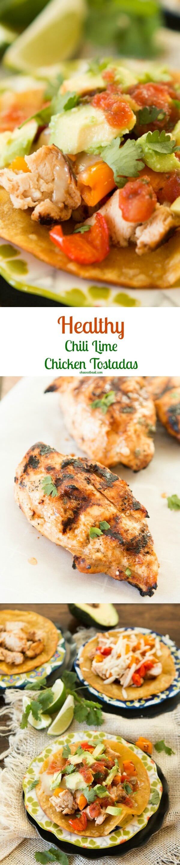 healthier chili lime grilled chicken tostadas ohsweetbasil.com
