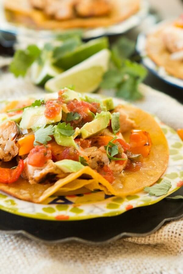 healthier chili lime chicken tostadas ohsweetbasil.com