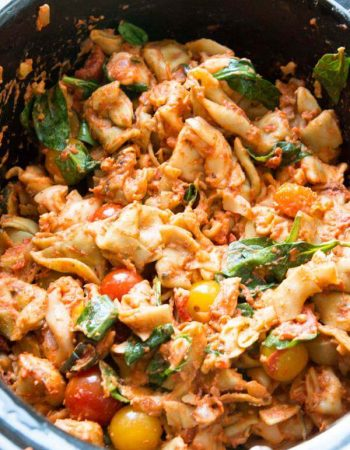 One pot slow cooker tortellini is so easy and you can use any veggies you want! ohsweetbasil.com