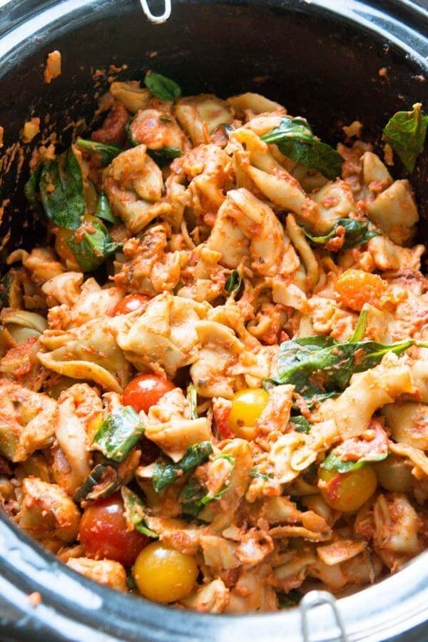 Just throw tortellini and all of your favorite ingredients in a slow cooker and let it do all the work for one pot slow cooker garden tortellini.