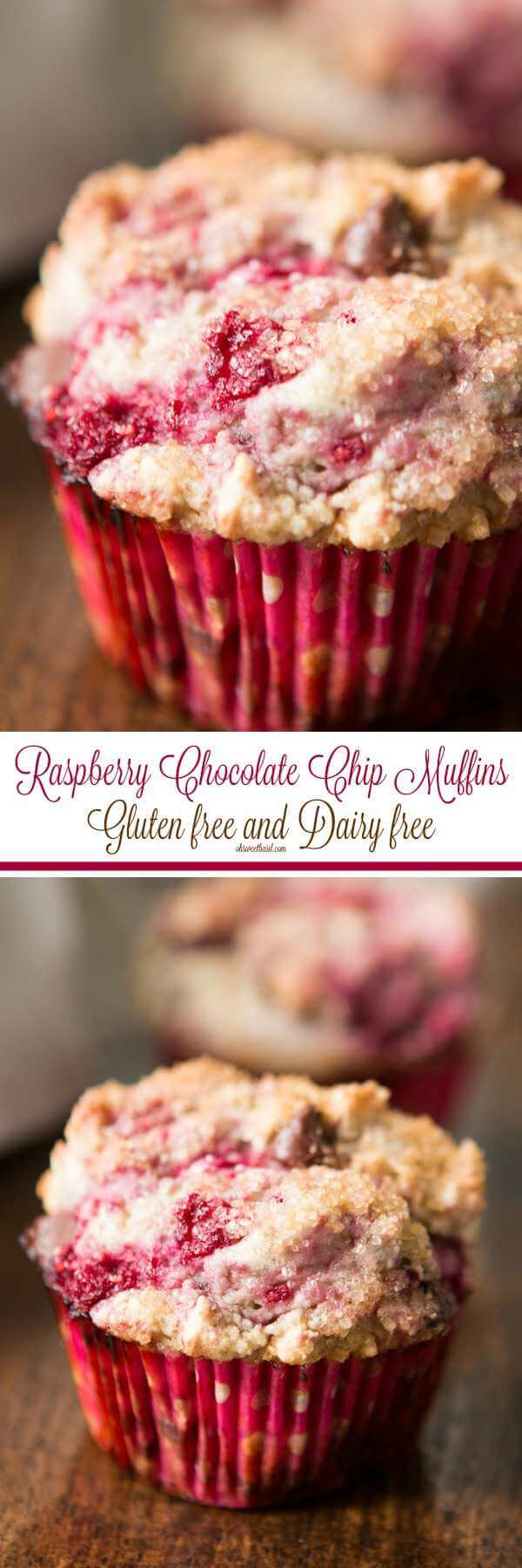 We love these gluten free dairy free raspberry chocolate chip muffins but you can make them with flour and butter too! ohsweetbasil.com