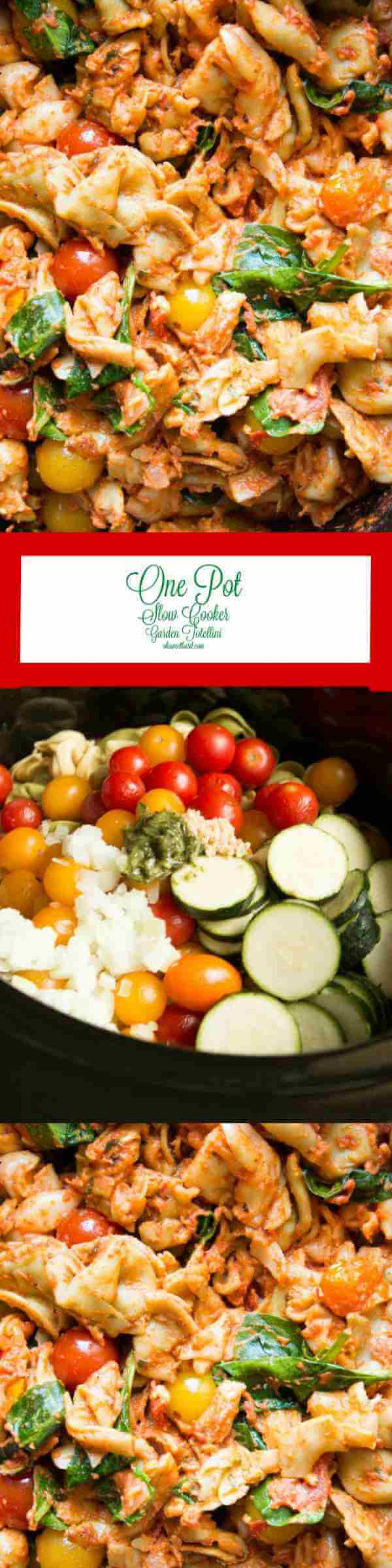 One pot slow cooker garden tortellini is the easiest thing ever but tastes wonderful! ohsweetbasil.com