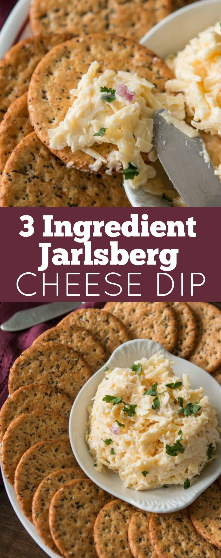 Cheese and crackers happens to be one of my favorite things and this 3 Ingredient Jarlsberg Dip totally hits the spot plus it's a quick and easy party appetizer.