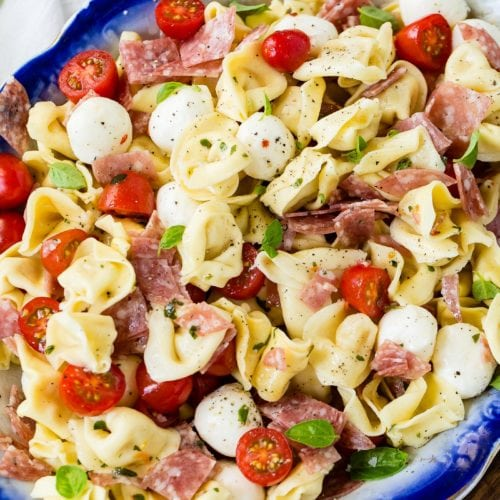 A close up picture of a dish of 5 minute Italian salami tortellini salad. There are chunks of salami, slices of tomatoes, and mozzarella balls mixed in with the tortellini.