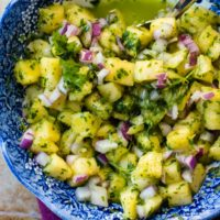 Chimichurri is great over steak or really any meat as it's almost like a salsa. We make a 5 minute pineapple chimichurri with cilantro that is amazing! ohsweetbasil.com