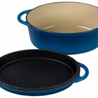 Le Creuset Cast Iron Oval Oven with Reversible Grill Pan Lid, 4 3/4 quart, Marseille