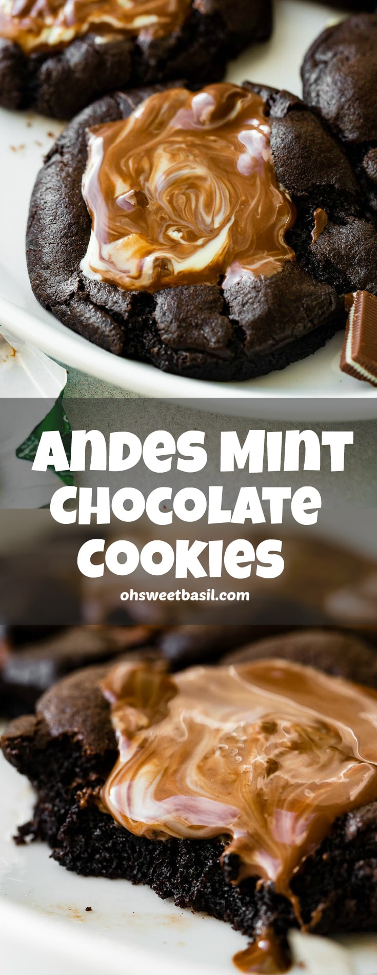 A photo of a chocolate cookie topped with melting Andes Mints.