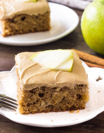 Moist apple spice cake topped with creamy caramel frosting
