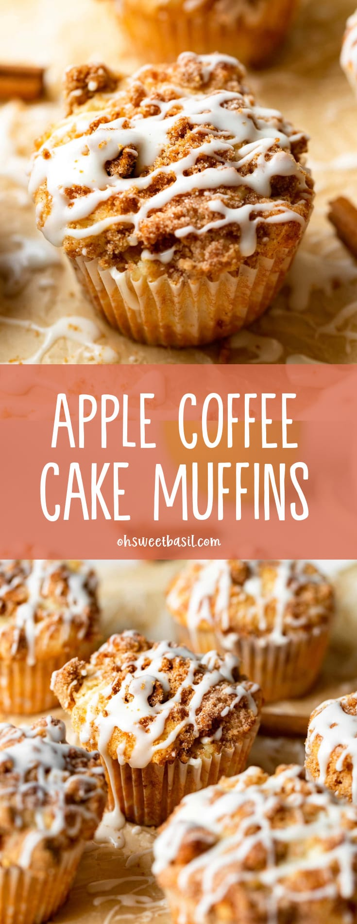 an apple coffee cake muffin with streusel and icing