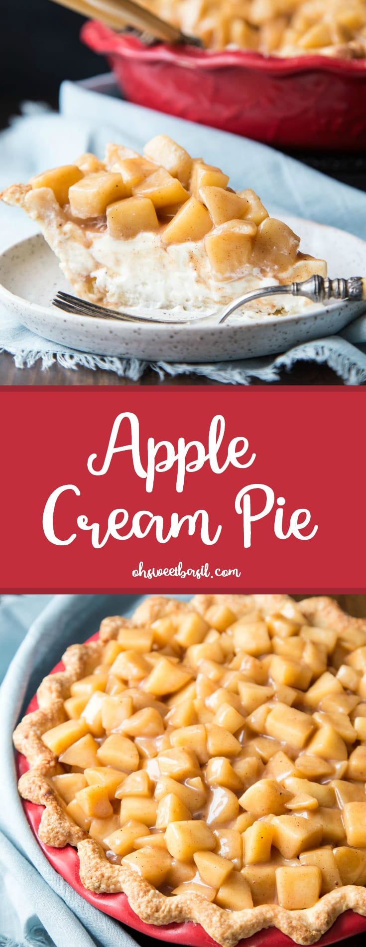 A slice of creamy apple pie with freshly cut apples on top