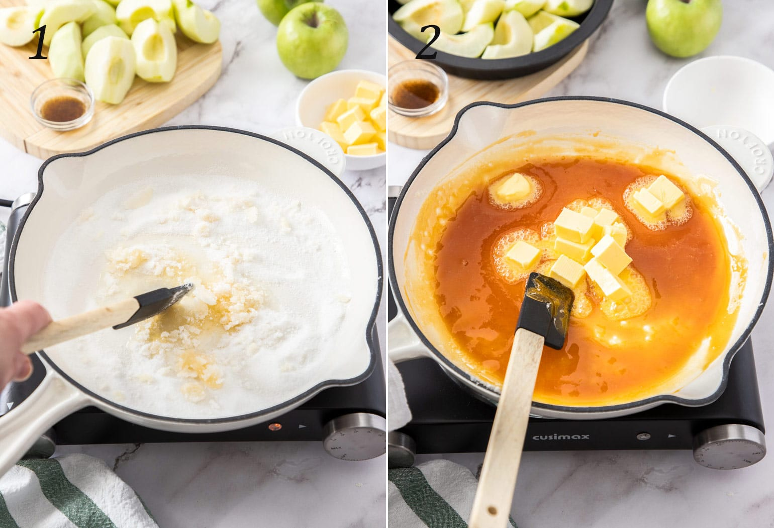 Sugar in a white pan being turned into caramel. Apples on a board in the background